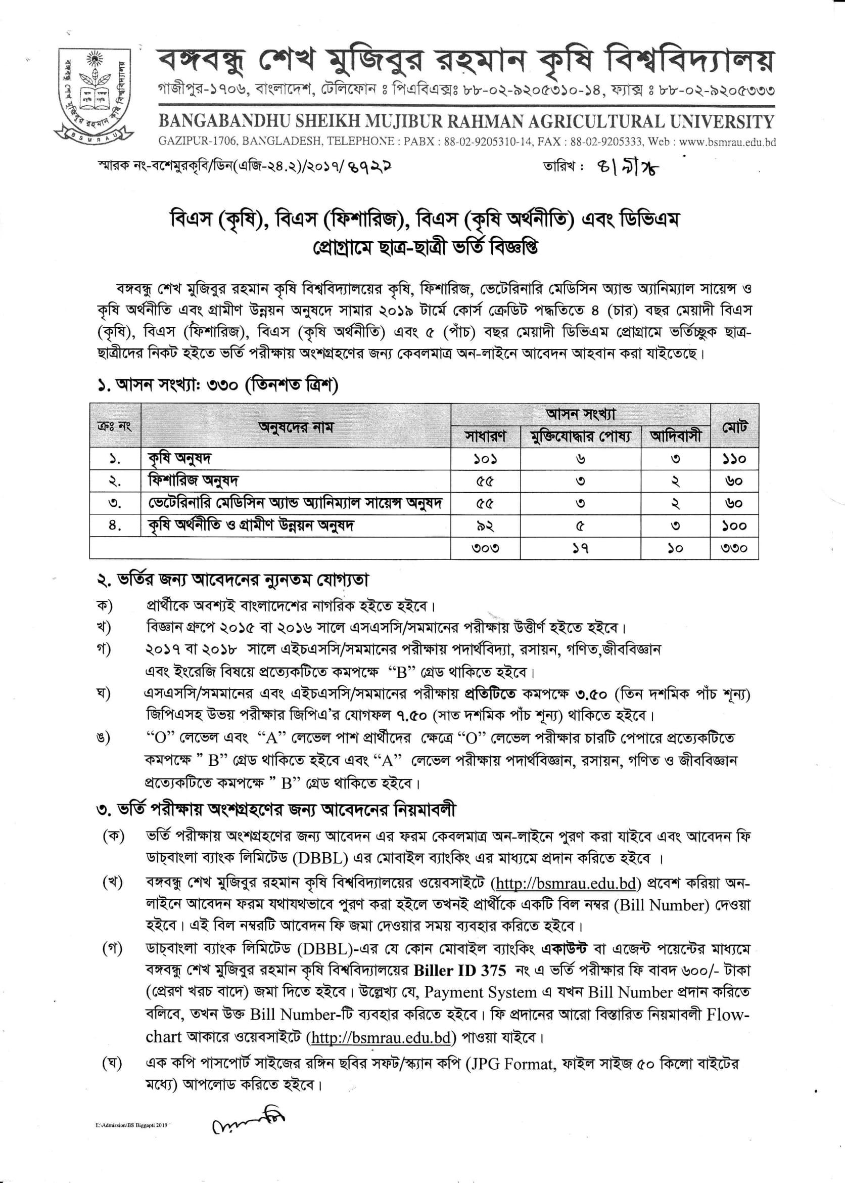 BSMRAU Admission Circular 2018-19 BSMRAU Admission Prospectus